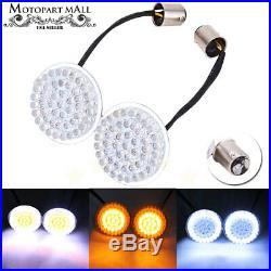 Pair 2 Bullet Amber LED 1157 Front Turn Signals Lights Inserts White For Harley