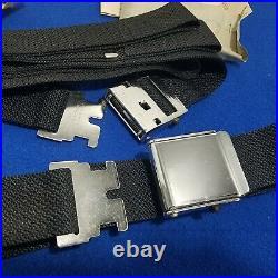 Pair Nos 60s vintage seat belts Black + chrome hot rod kustom E Z Pontonier rare