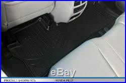 Smartliner Floor Mats 3 Row Set Black For Pilot 2016-2019 8 Passenger Model