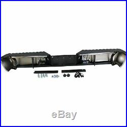 Step Bumper For 2008-2016 F-250 SD With Sensor Holes Chrome Face Black Pad Rear
