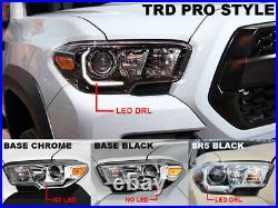 TRD Full Black LED DRL Plug & Play Headlight For 16-18 Tacoma Model Without LED