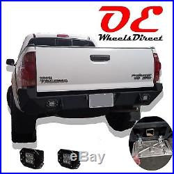 Toyota Tacoma 05-15 Rear Bumper (All Models) LED Holes Offroad Steel D-Rings