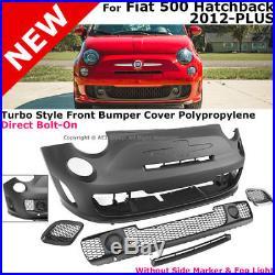 Turbo Style Bumper Cover Full Kit Set 2012-2017 Fiat Hatchback 500C 500
