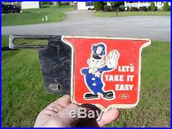 Vintage 50s Auto License plate topper TAKE IT EASY gm ford chevy rat rod promo