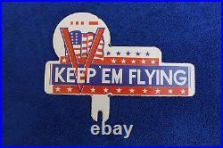 Vintage Ingram Richardson Keep em Flying License Plate Topper Badge Accessory