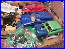 Vintage LARGE LOT Model Plastic Cars Built-Parts Stock Race Ford Chevy- JUNKYARD