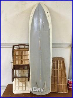 Vintage Large 40 Wood Model Boat Chris Craft 63' Yacht For Restoration Parts
