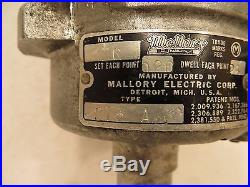 Vintage Mallory Dual Point Distributor Model ZC Type 275 A Parts or Restore