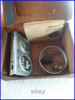 Vintage NOS Oil Pressure / Amps Gauge And Holder Hot Rod Gauges Gasser Rat Rod