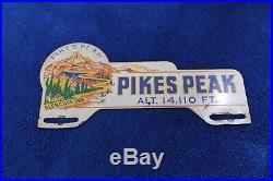 Vintage Pikes Peak License Plate Topper Trunk Bumper Badge Emblem Colorado