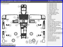 Wood Dash Trim Kit Fits Lincoln Aviator 2003 2004 2005 2006 Model