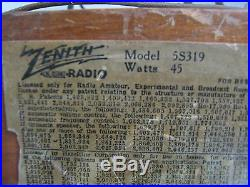 Zenith 1939 Tube Radio, Model 5-s-319 For Parts Or Repair